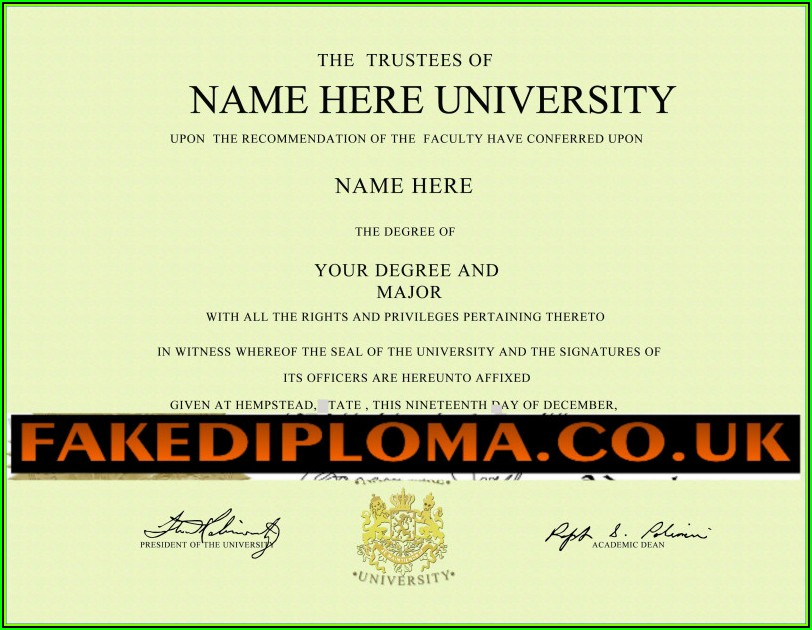 Fake Degree Certificate Template Uk