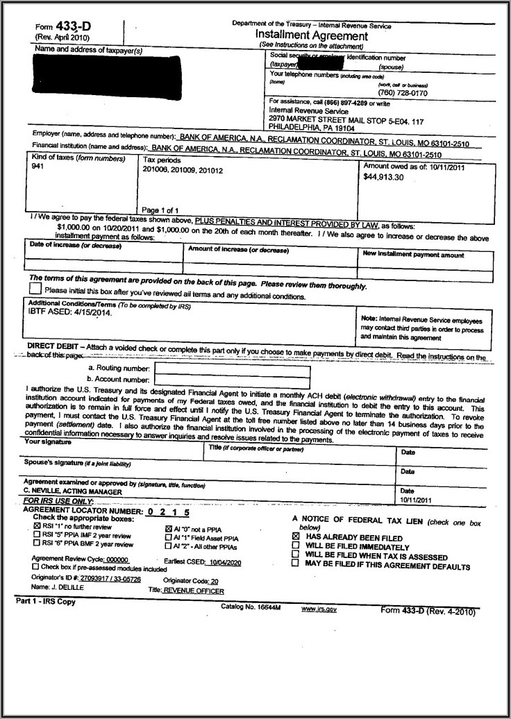 Fax Irs Form 433 D