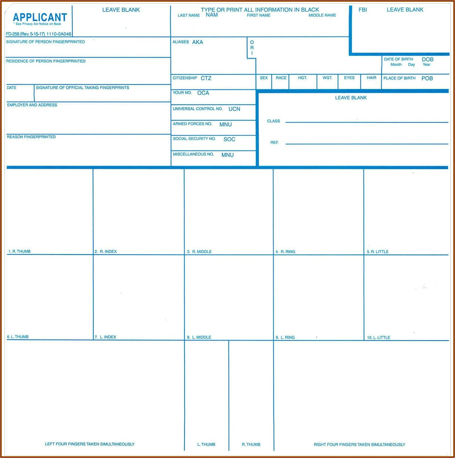 Fbi Fingerprint Card Form Fd 258 3 Pack