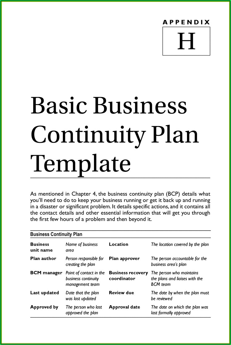 Fema Small Business Continuity Plan Template