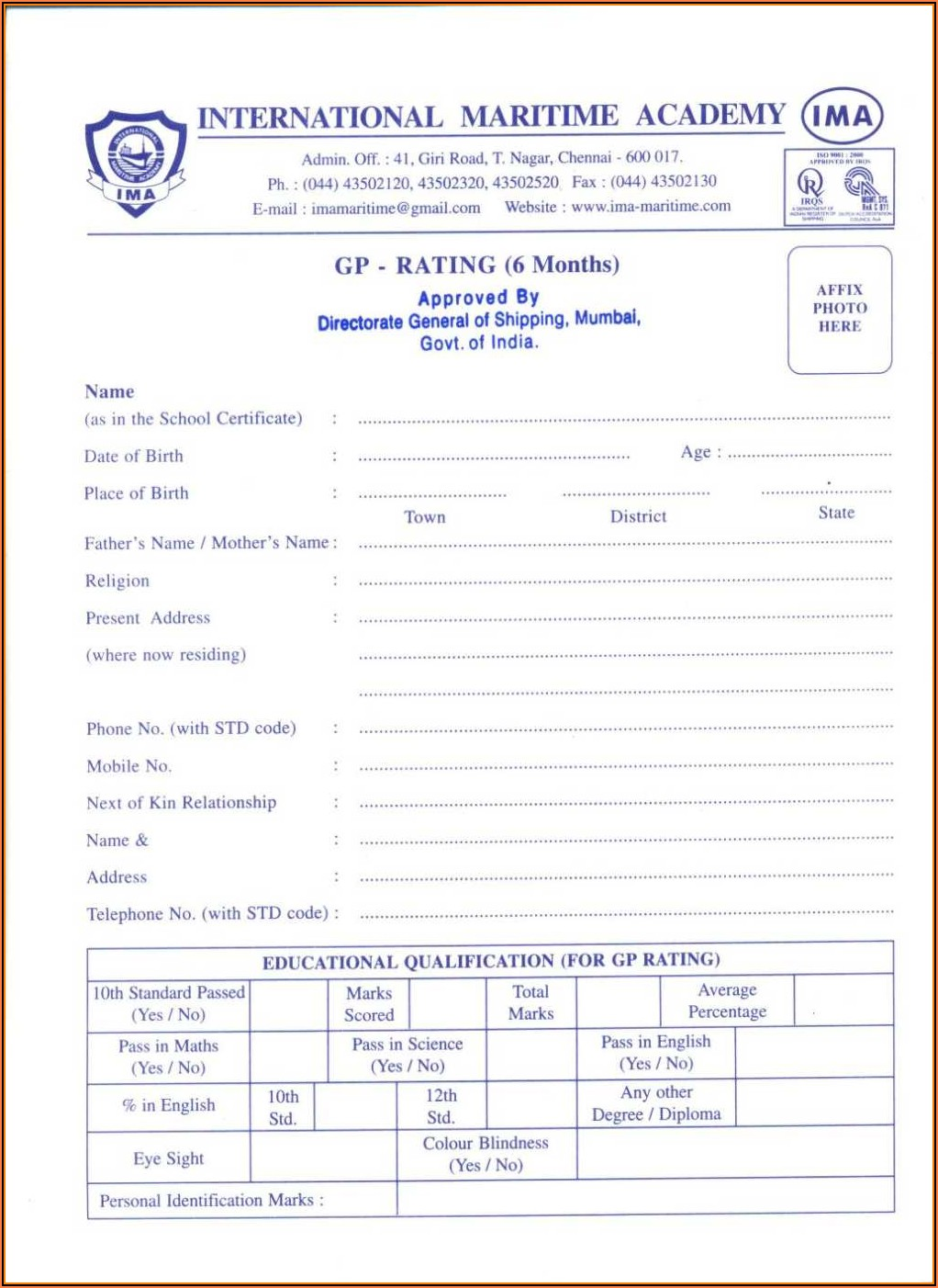 Fillable Application Form For Coc
