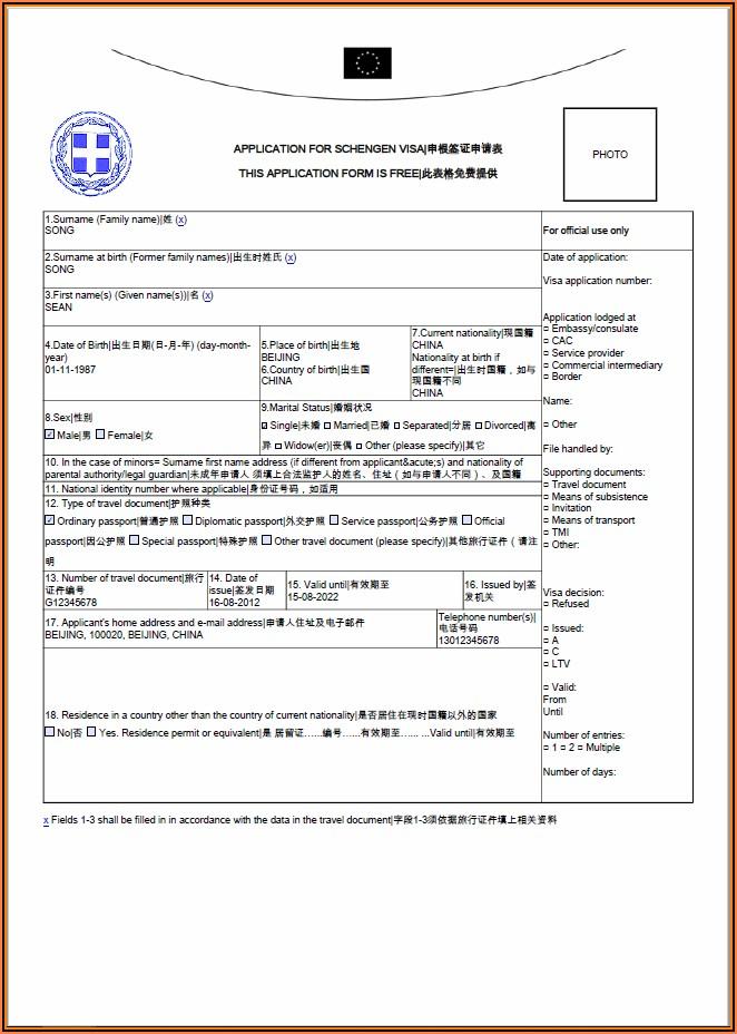 Fillable Application Form For Schengen Visa