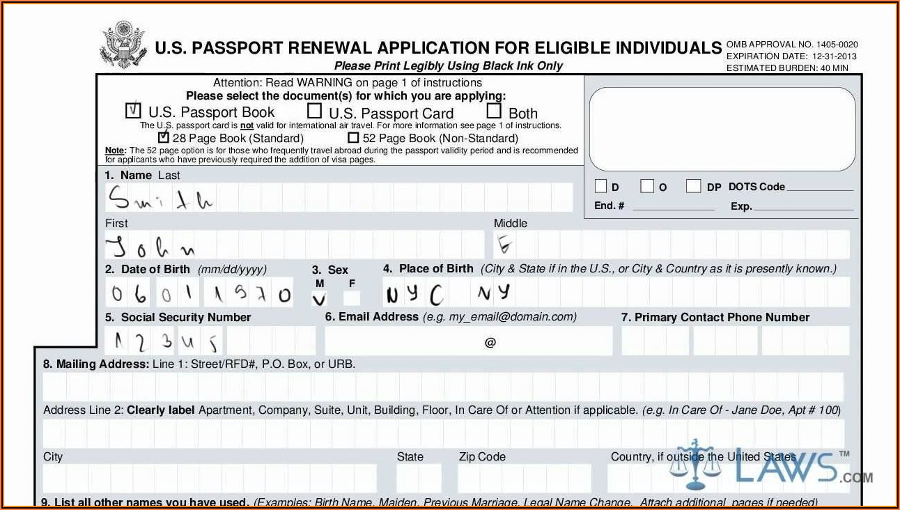 Fillable Application Form For Us Passport