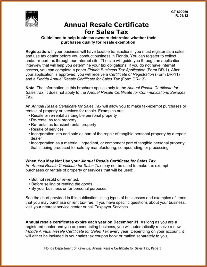 Florida Resale Certificate Form Dr 13