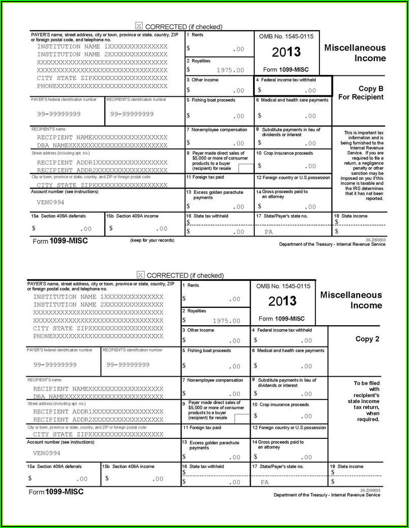 Form 1099 Template 2018