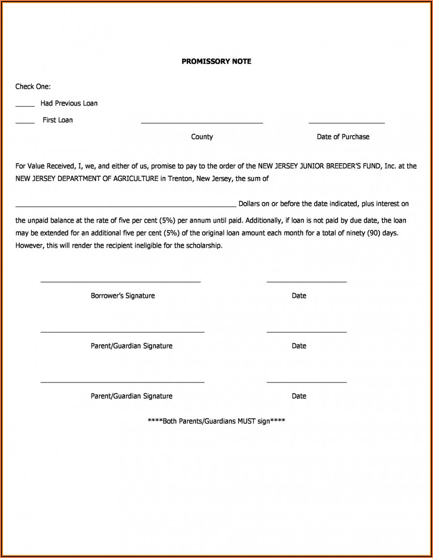 Form Of Promissory Note New Jersey