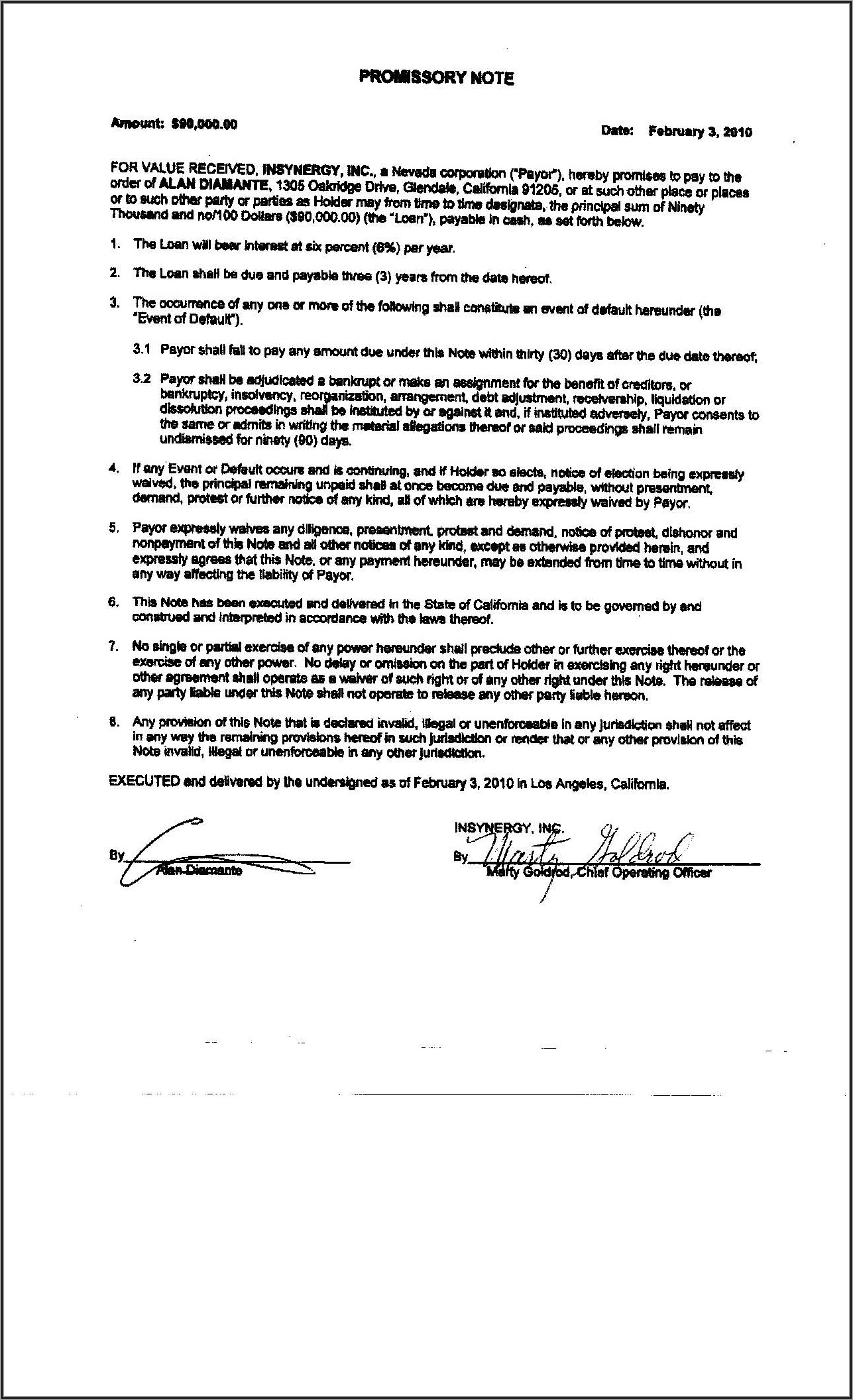 Form Of Promissory Note Sec