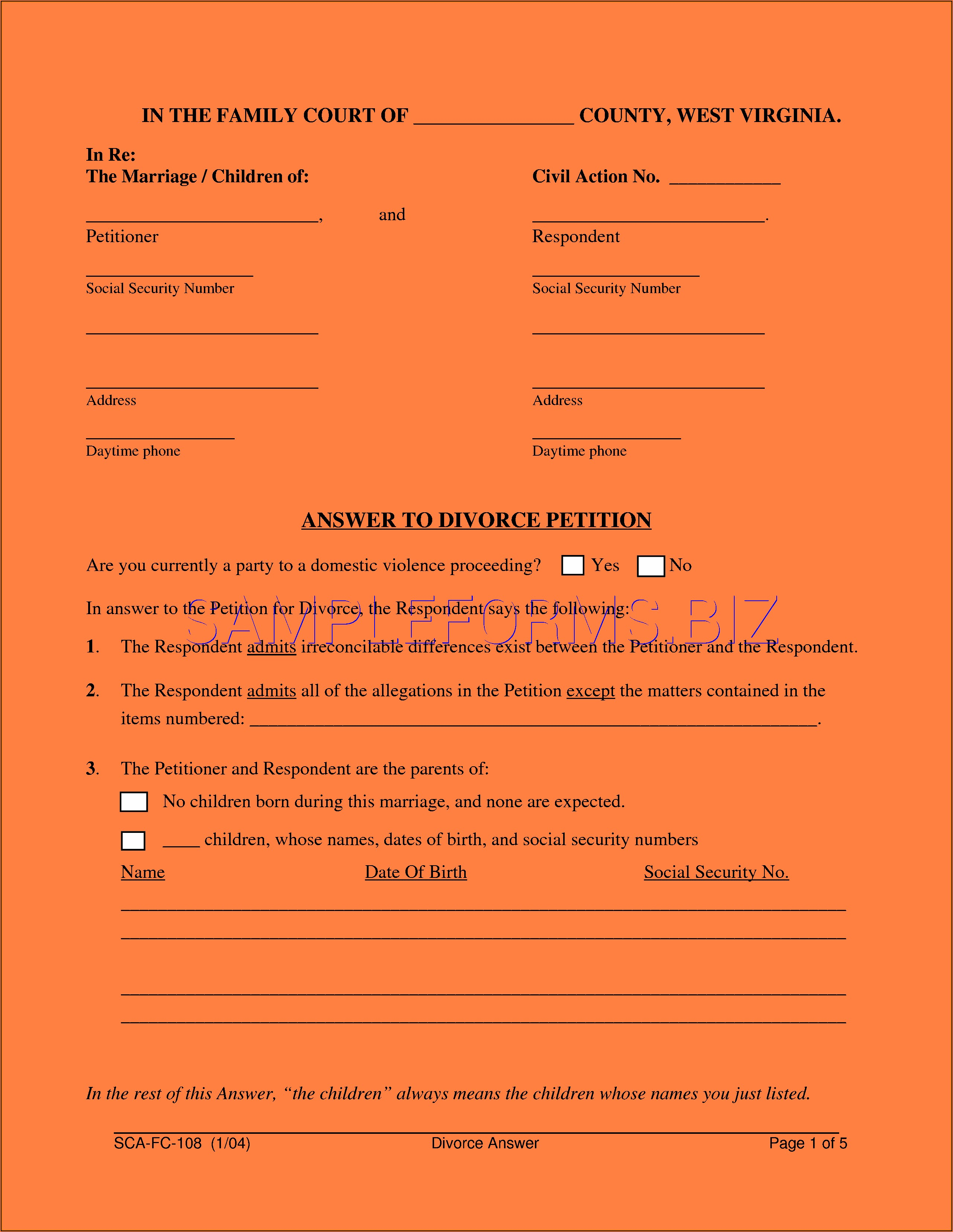 Forms Needed For Divorce In Virginia