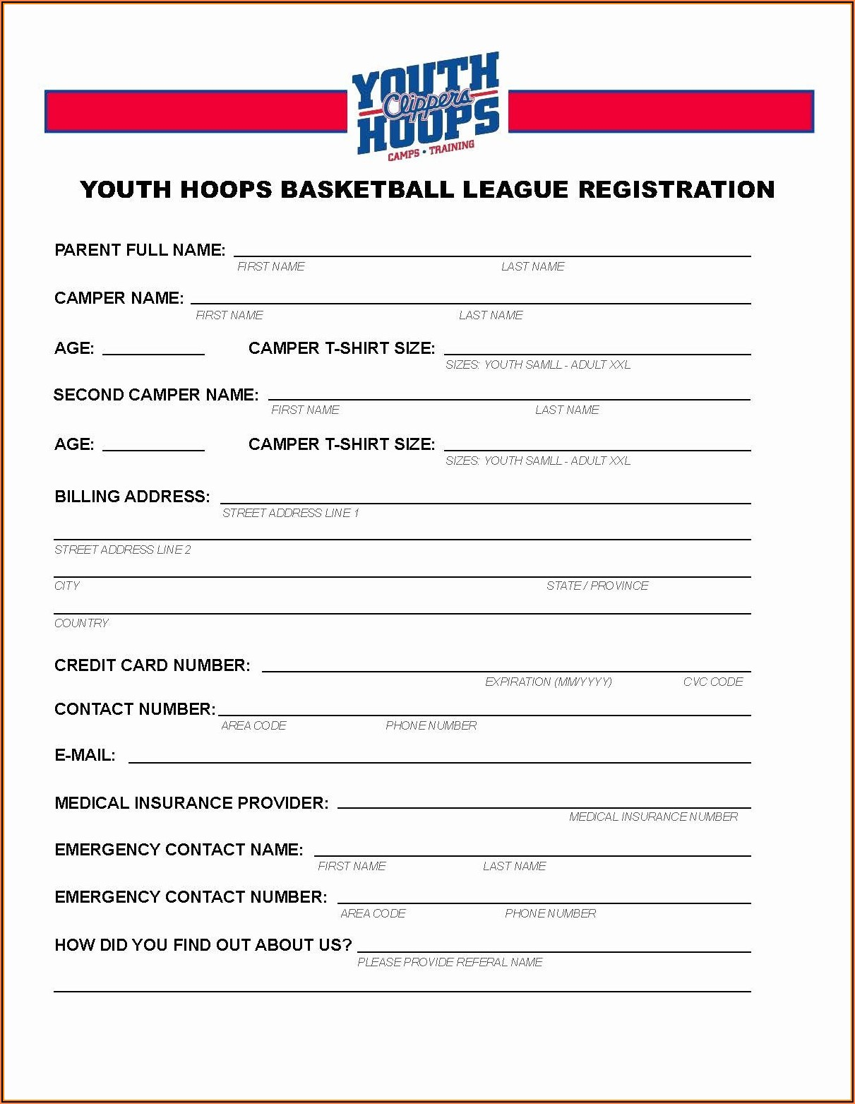 Free Basketball Tournament Registration Form Template
