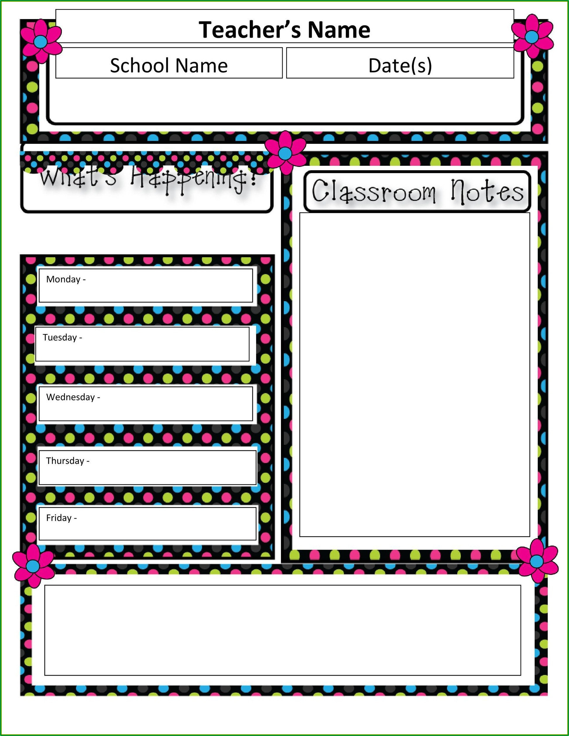 Free Blank Newsletter Templates For Teachers