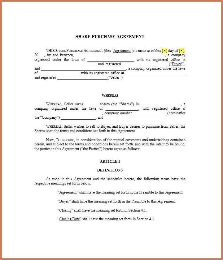 Free Blank Purchase Agreement Form Indiana