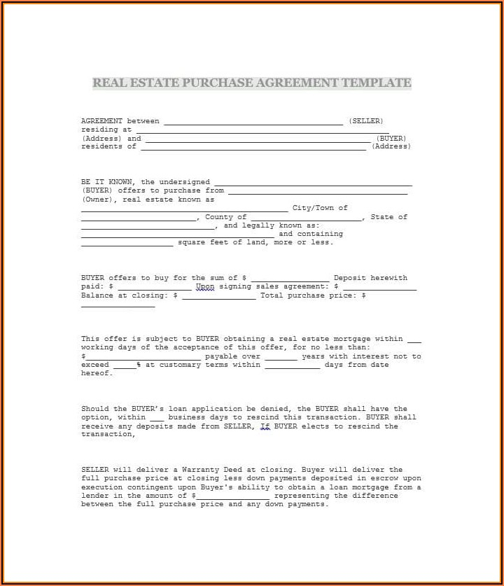 Free Blank Purchase Agreement Form