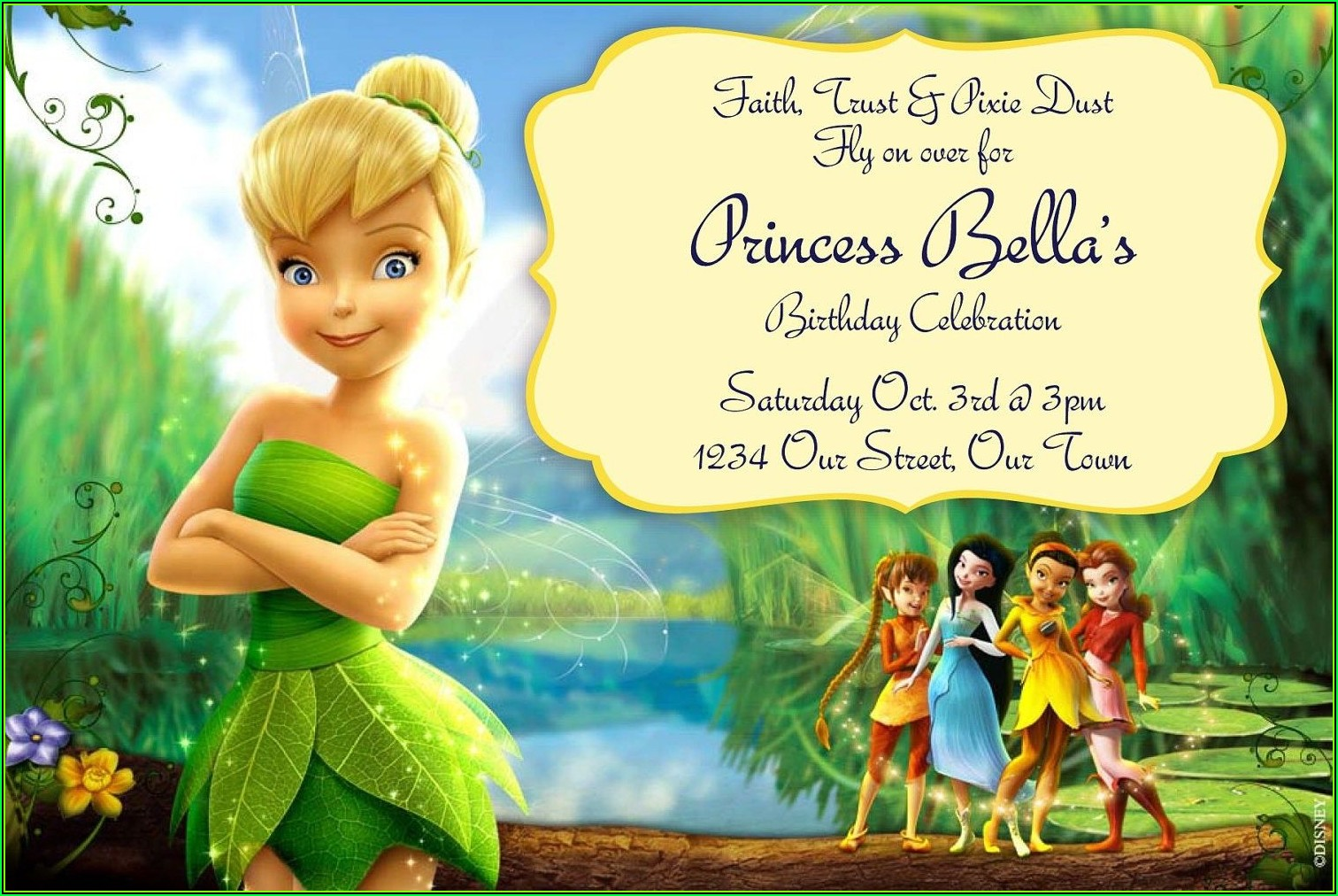 Free Editable Tinkerbell Invitation Templates