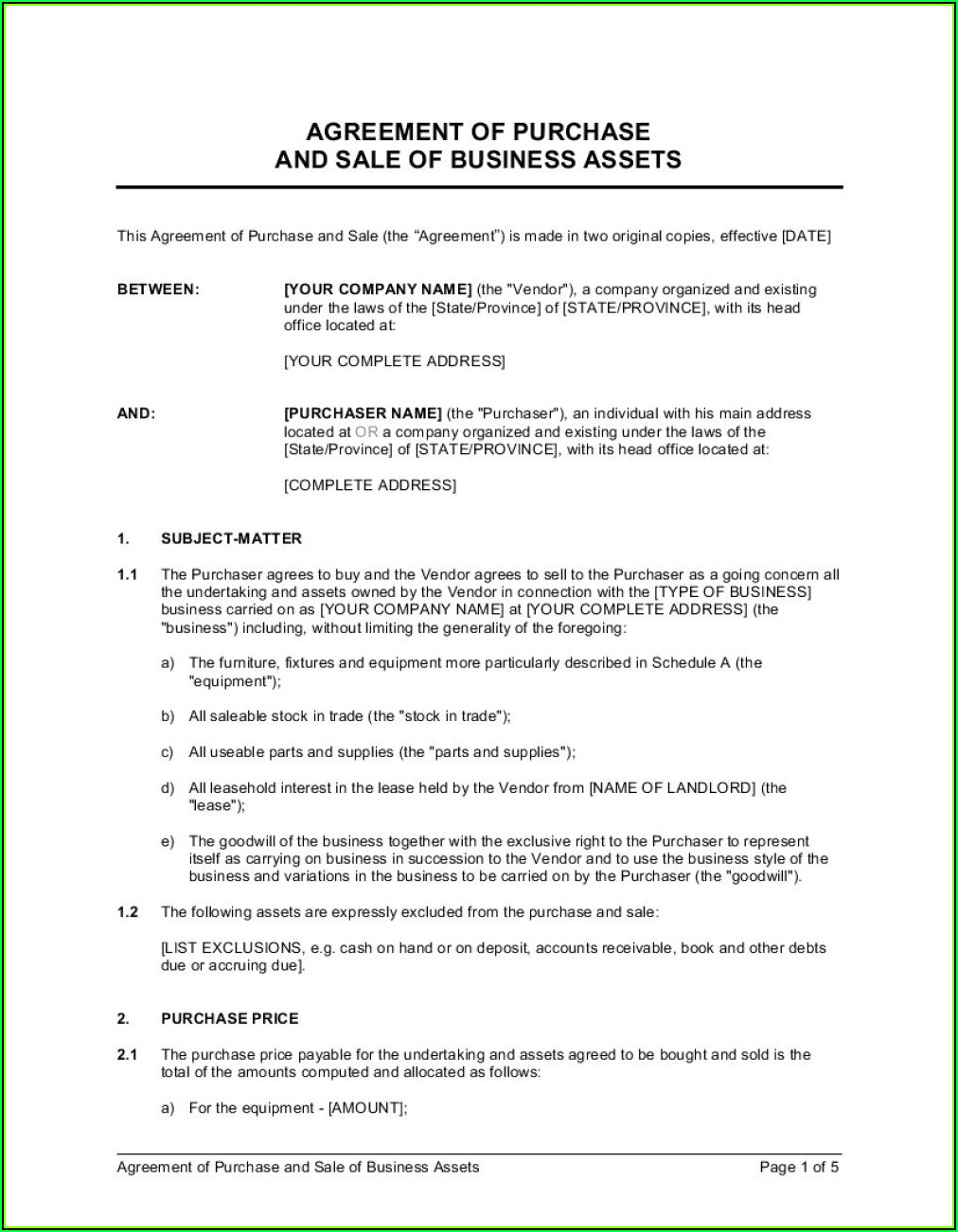 Free Equipment Lease Purchase Agreement Template