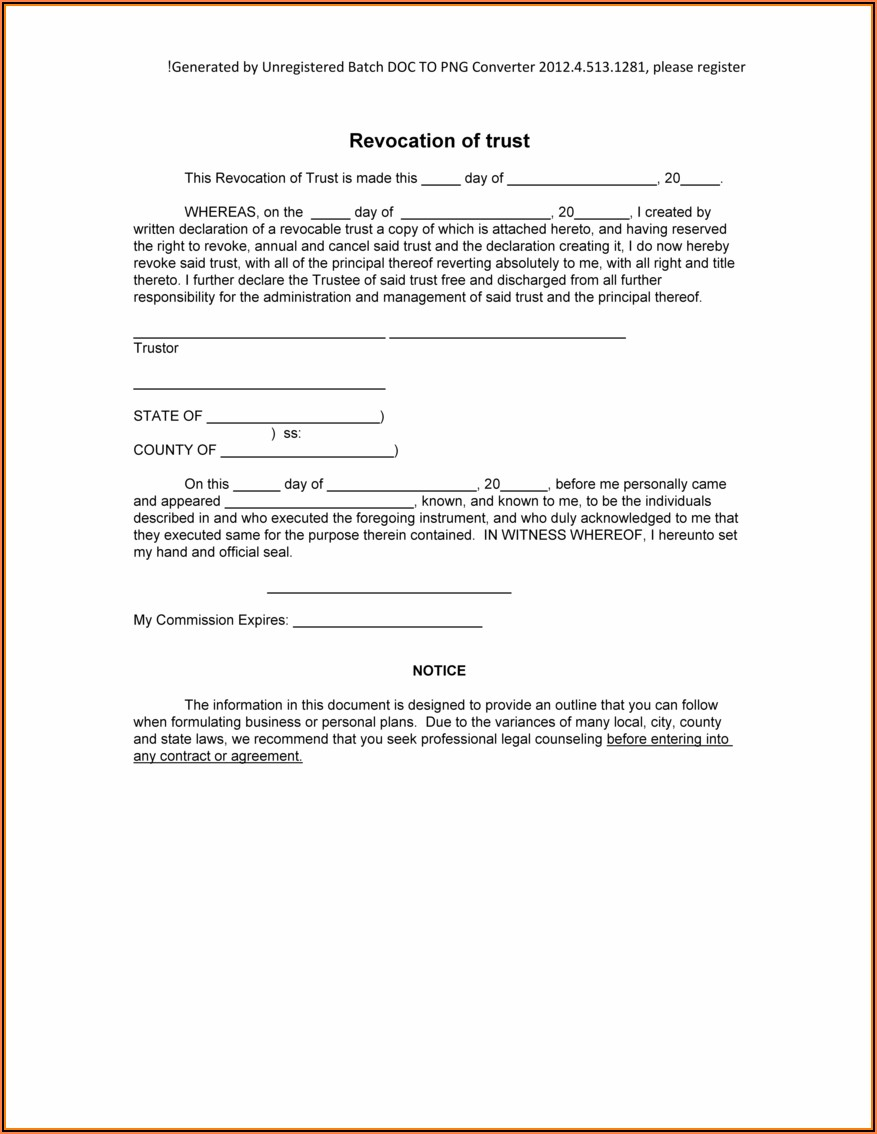 Free Florida Revocable Trust Form