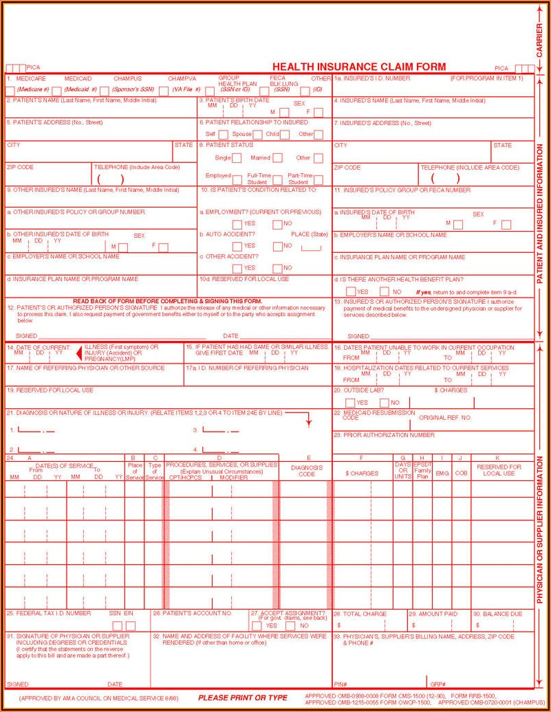 Free Health Insurance Claim Form 1500 Template