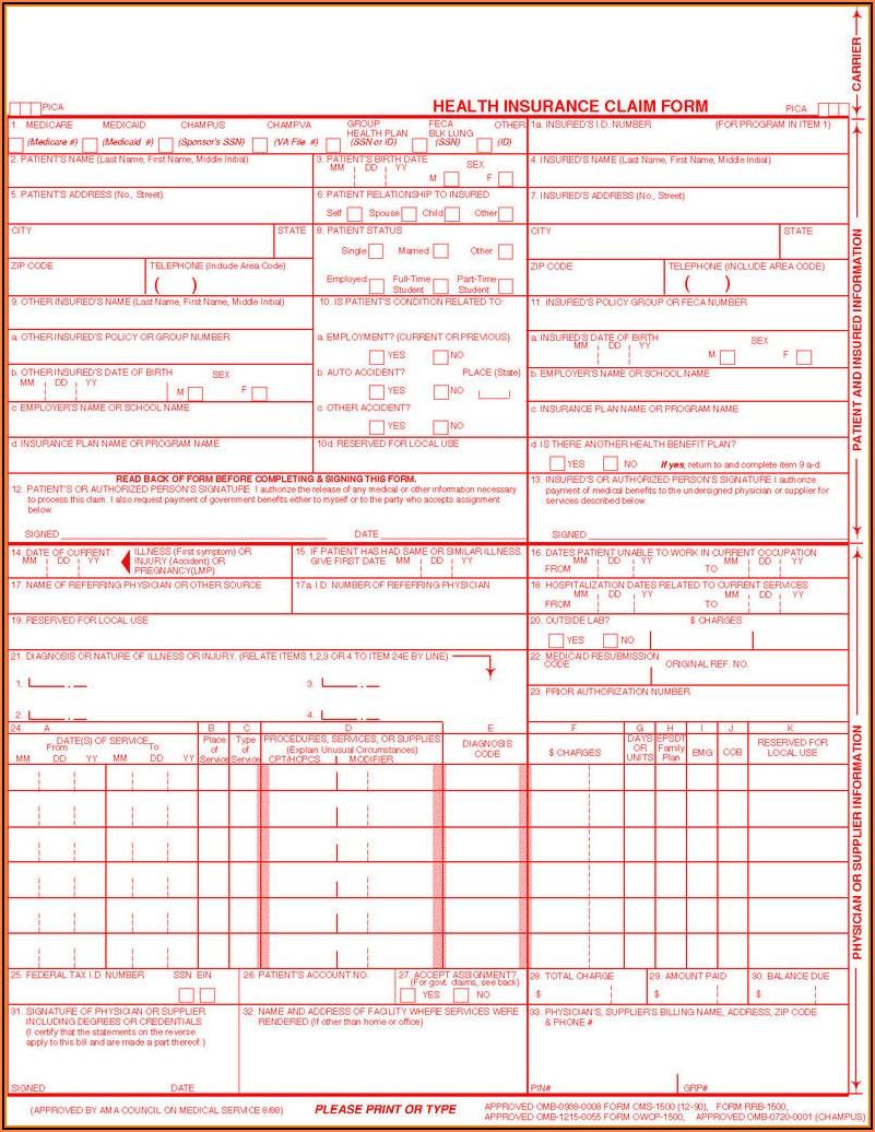 Free Health Insurance Claim Form 1500 Template