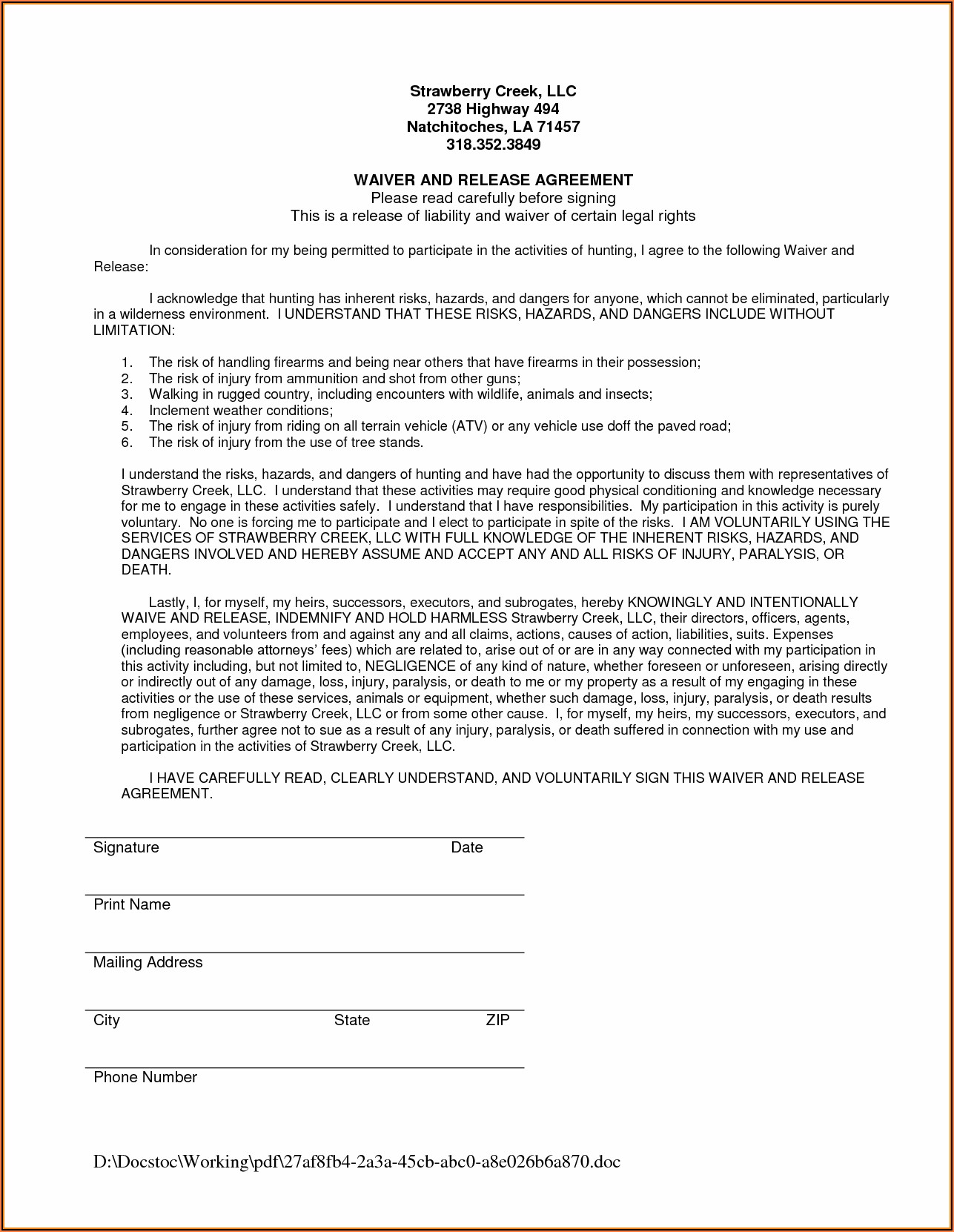 Free Liability Waiver Form Texas