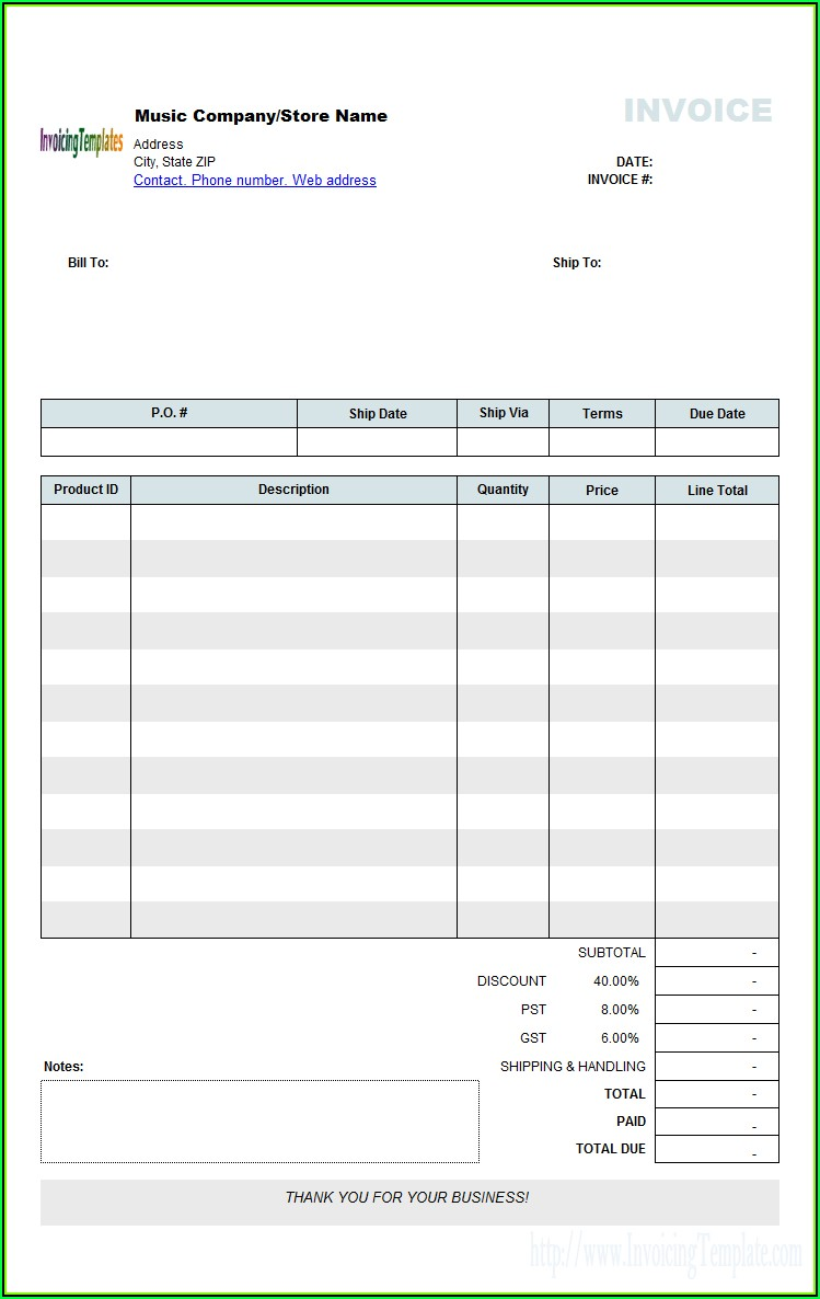 Free Microsoft Publisher Invoice Templates