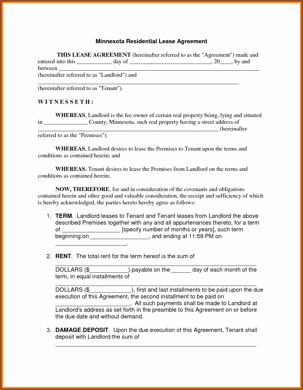 Free Minnesota Residential Lease Agreement Forms