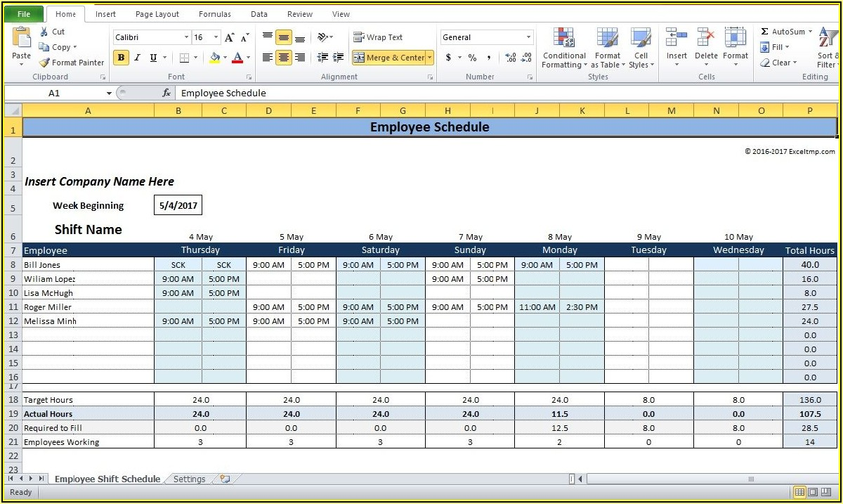 Free Monthly Employee Shift Schedule Template
