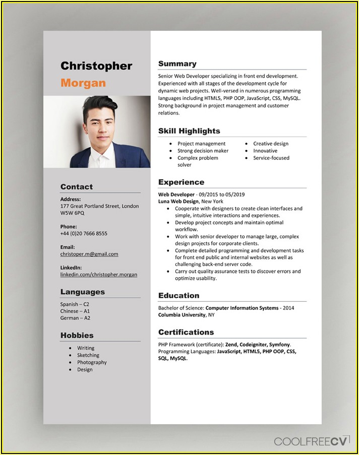 Free Ms Word Curriculum Vitae Template