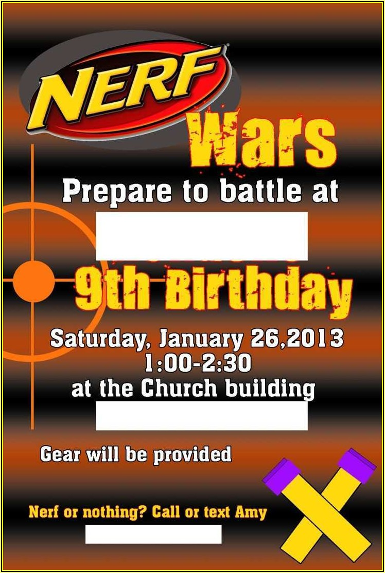 Free Nerf Birthday Invitation Template