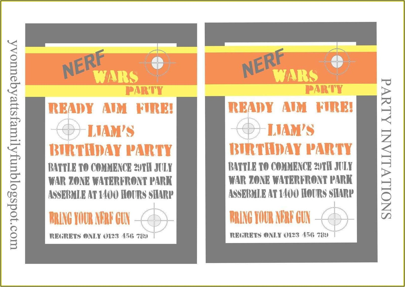 Free Nerf Birthday Party Invitation Template