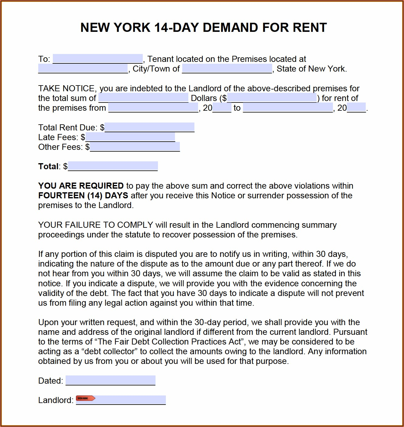 Free Nys Eviction Notice Form