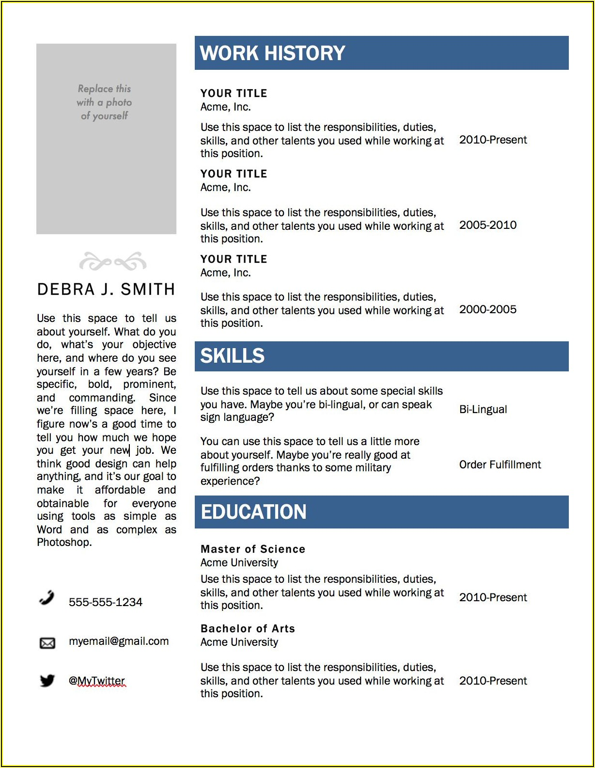 Free Online Acting Resume Template