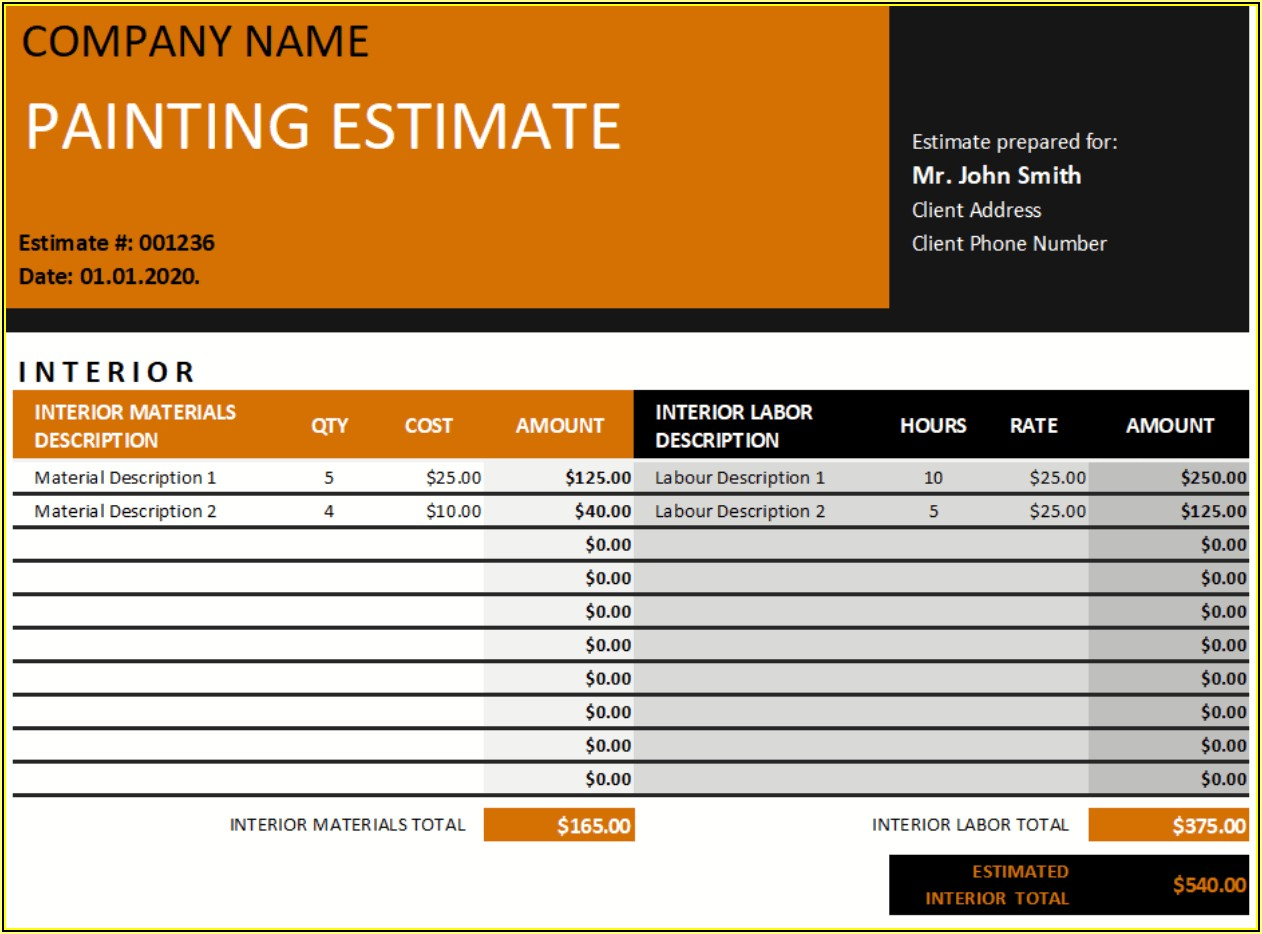 Free Painting Estimate Template Excel