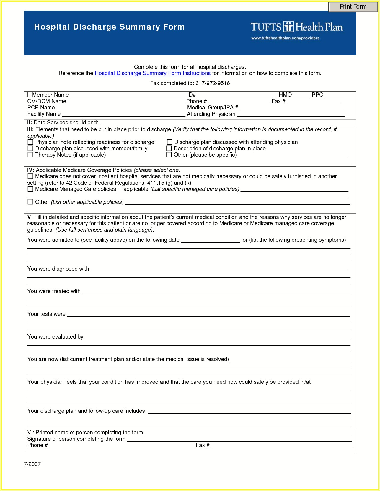 Free Patient Discharge Form Template
