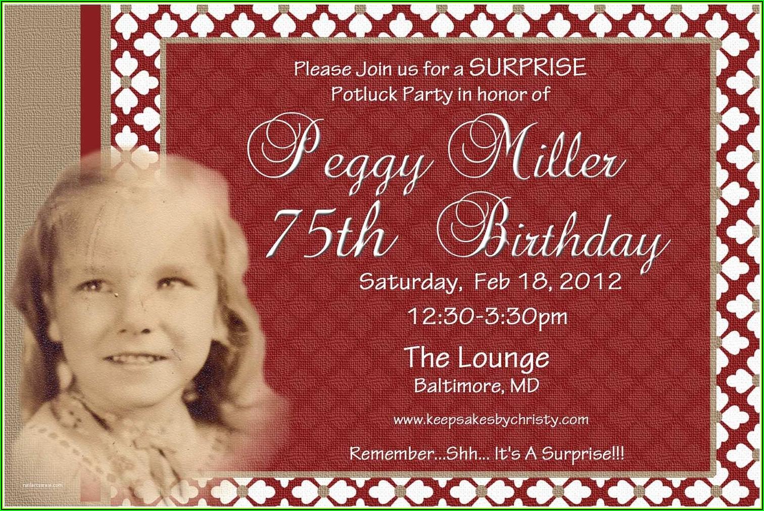 Free Printable 75th Birthday Invitation Templates