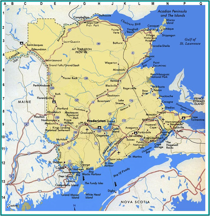 Free Printable Map Of New Brunswick
