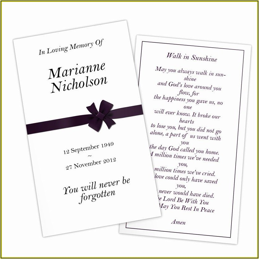 Free Printable Memorial Card Template