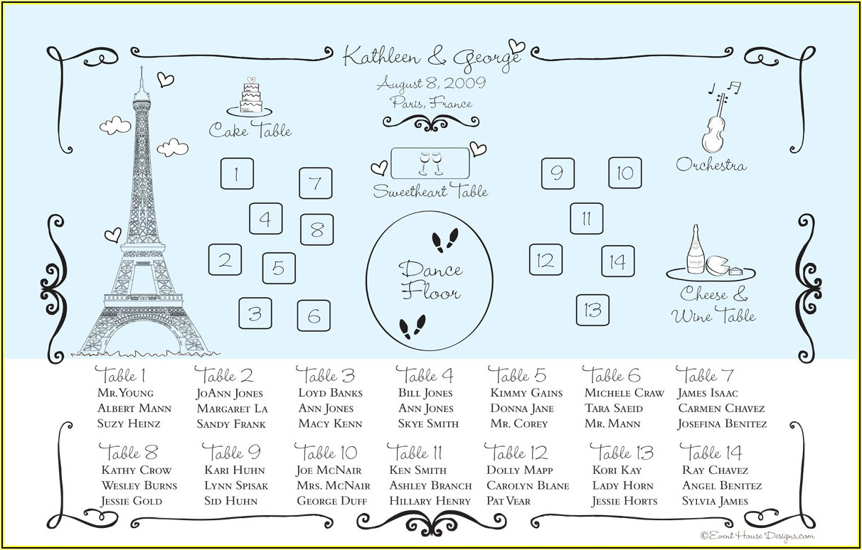 Free Printable Wedding Reception Seating Chart