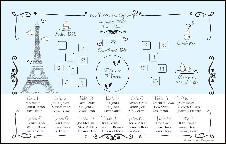 Free Printable Wedding Reception Seating Chart