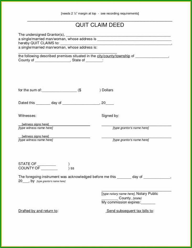 Free Quick Claim Deed Template