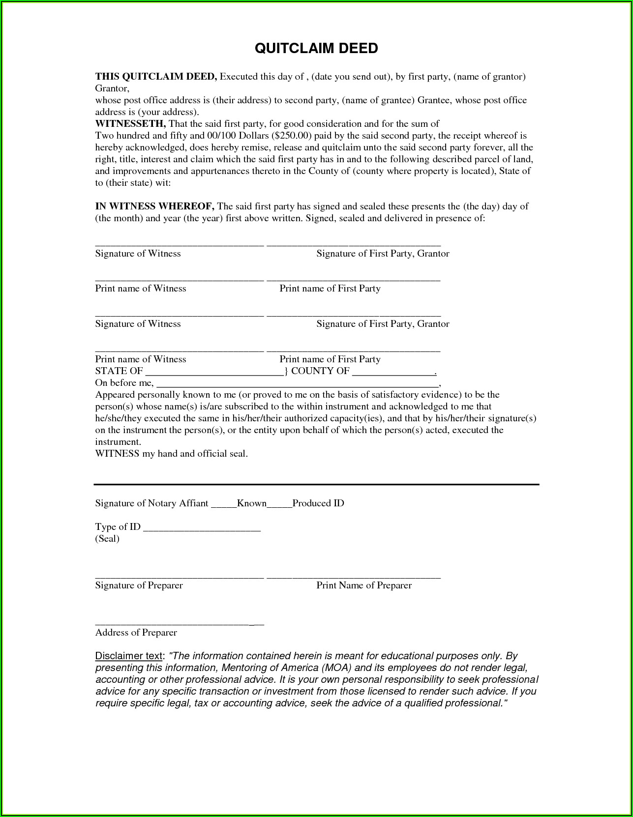 Free Quit Claim Deed Form