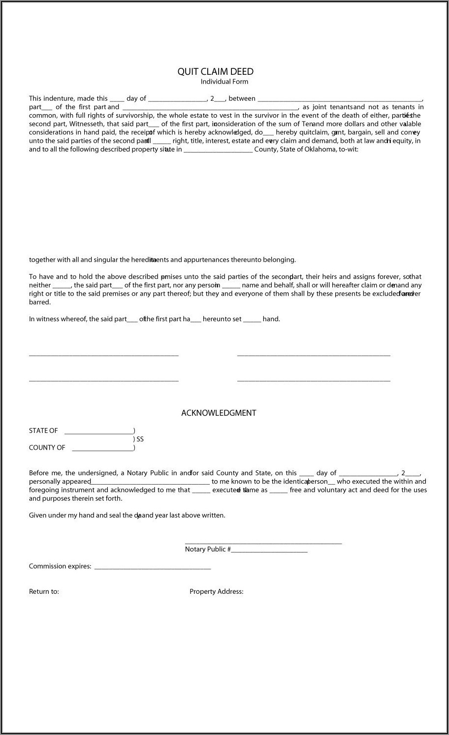 Free Quit Claim Deed Template