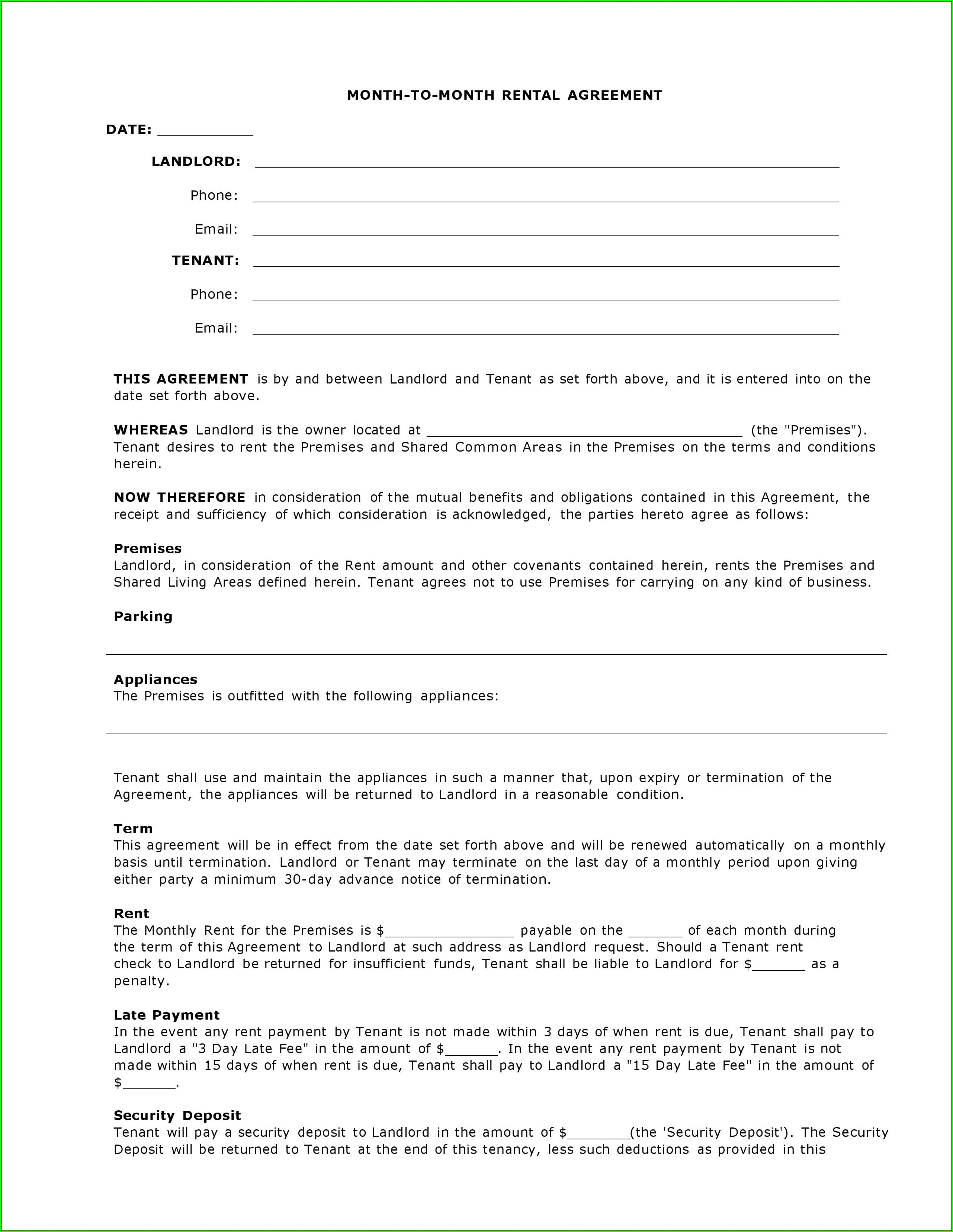 Free Rental Agreement Template Download