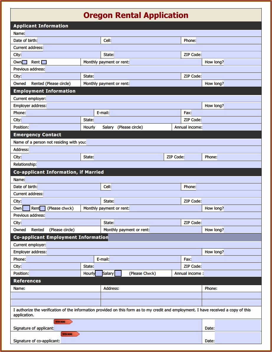 Free Rental Application Forms Oregon