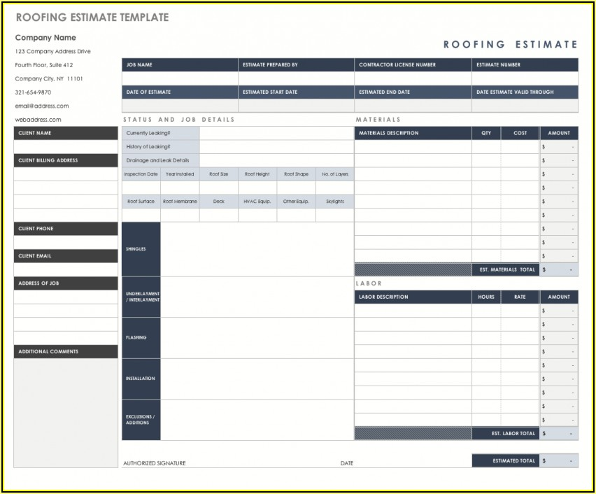 Free Roofing Estimate Template Excel