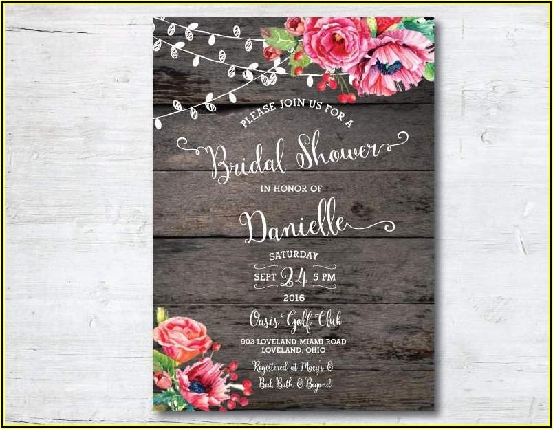 Free Rustic Wedding Shower Invitation Templates