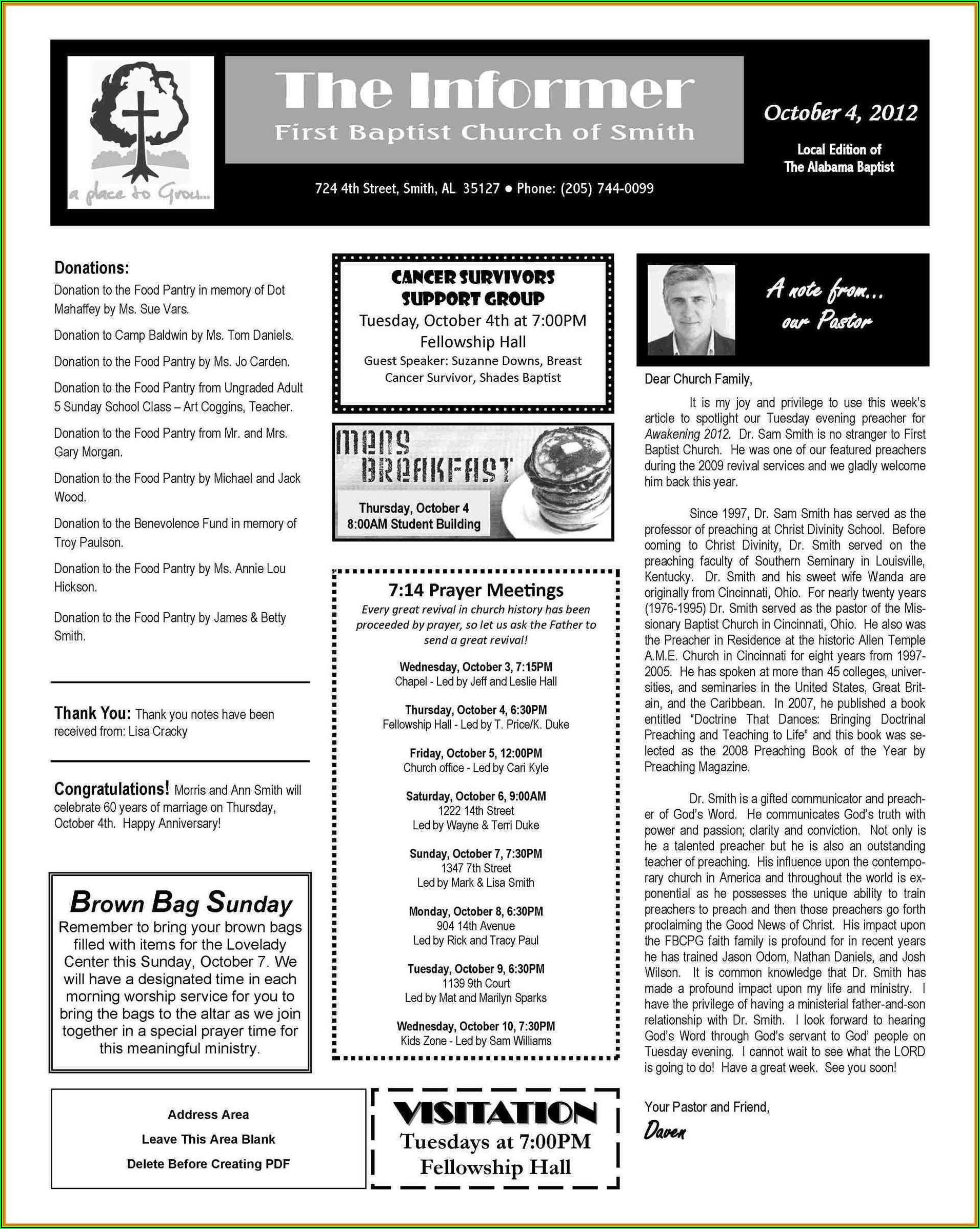 Free Sample Church Newsletter Templates
