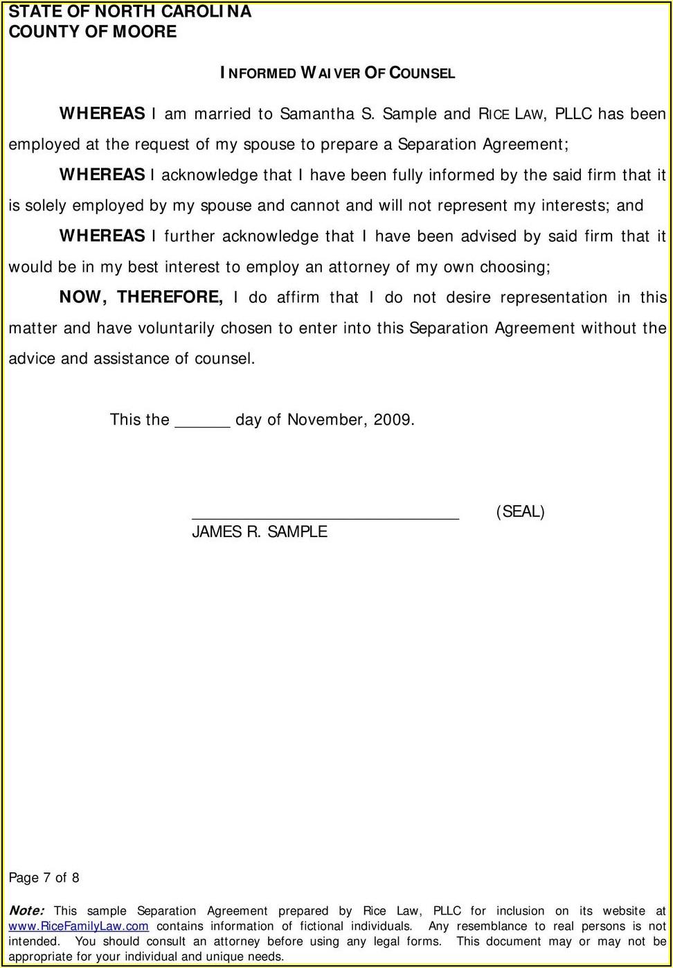 Free Separation Agreement Template North Carolina