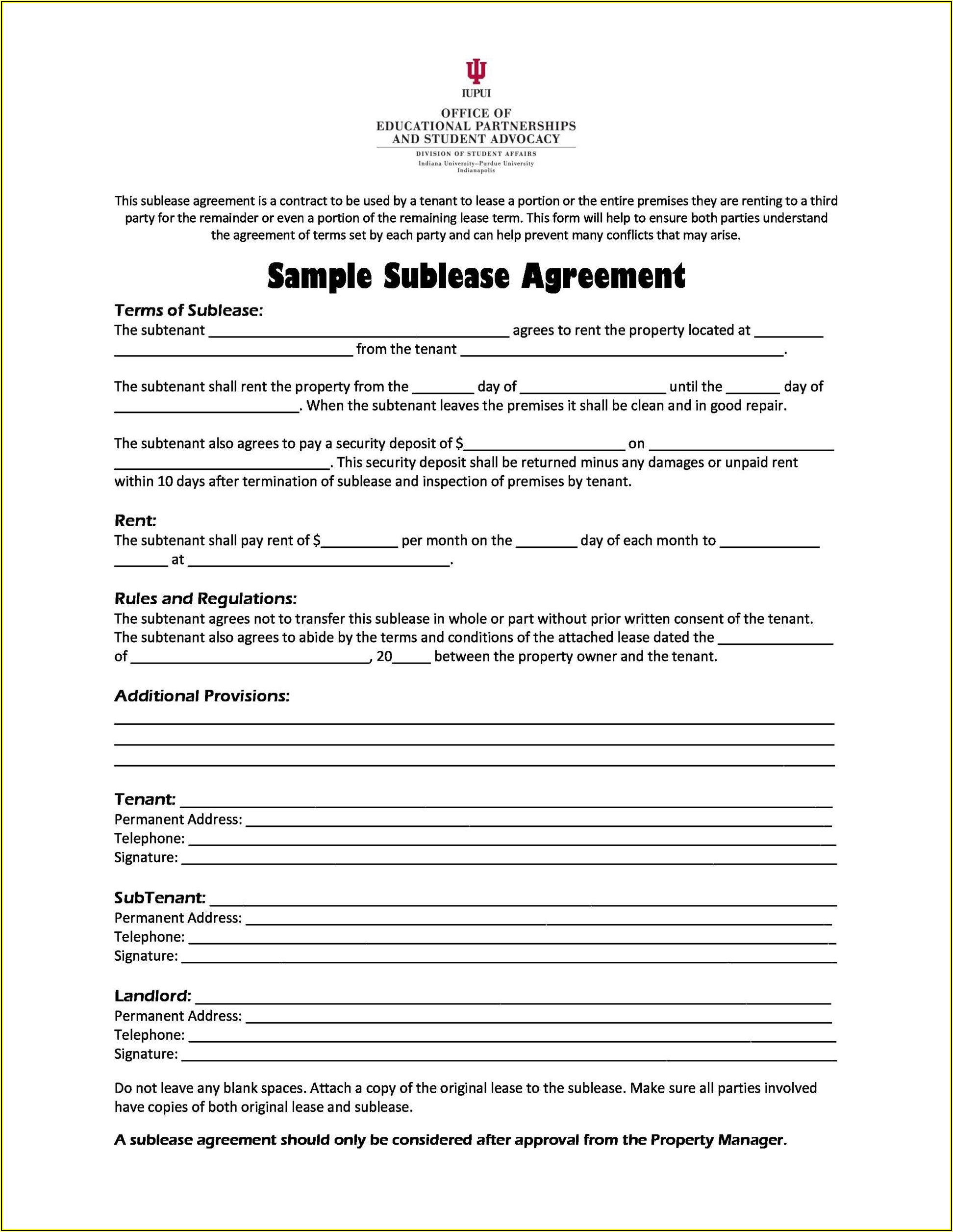 Free Sublease Agreement Template Word South Africa