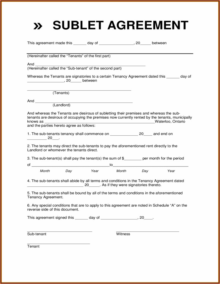 Free Sublet Agreement Form
