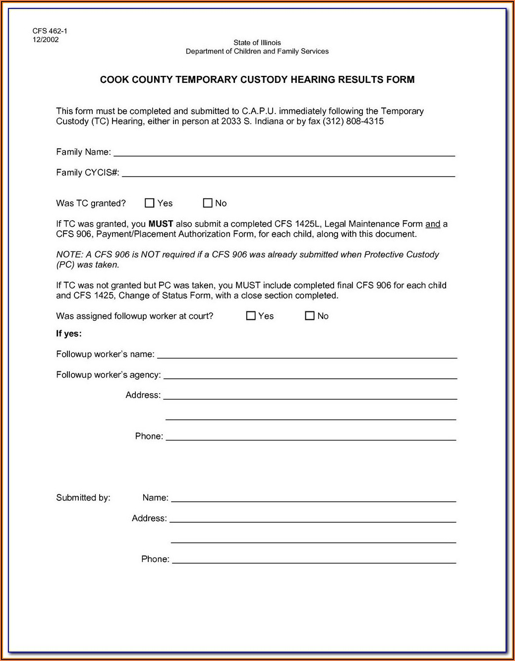 Free Temporary Guardianship Forms Indiana