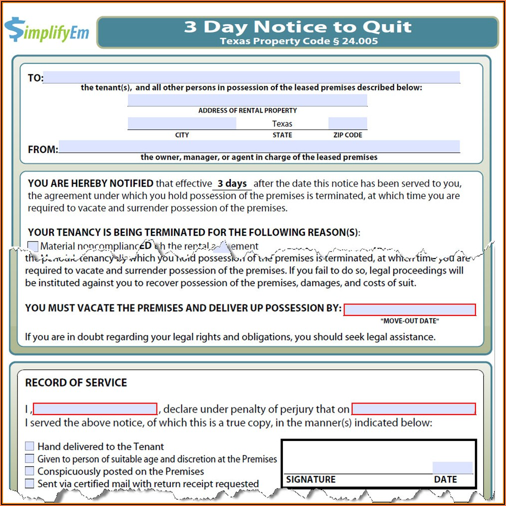 Free Texas 3 Day Notice To Vacate Form